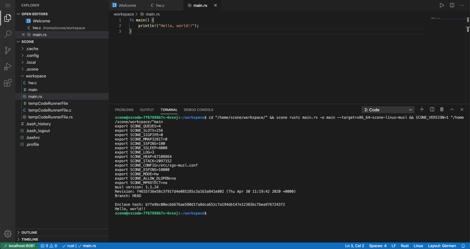 VS Code and SCONE CrossCompiler